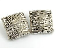 Vintage MH .925 Sterling Silver Modernist Wire Wrap Electroform Clip-On Earrings