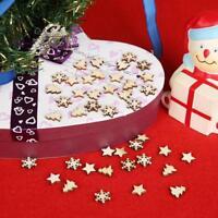 50pcs Wooden Tree Snowflakes Stars DIY Christmas Tree Hanging Pendant Xmas Decor