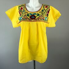Vintage 70s Floral Oaxacan Blouse Mexican Bright Embroidered Yellow Boho Top