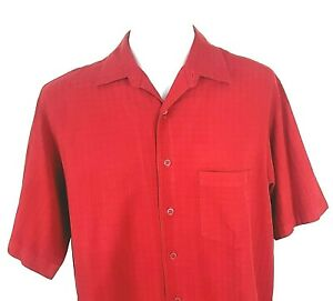 """CARIBBEAN Mens Silk/Cotton Red SUMMER S/S SHIRT - XL - Chest 50"""" - £55"""