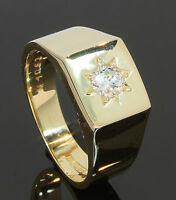 18 Carat Yellow Gold Gents Diamond Set Ring 0.50ct Size V (80.18.604)