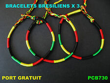 BRACELETS  BRESILIENS X 3 /  BRACELETS RASTA / BRACELETS REGGAE / BOB MARLEY