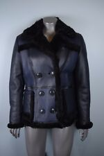 NWT $2795 Burberry Brit Shearwell Shearling Double Breasted Leather Coat Jacket