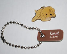 Ty Beanies Dog Tag Coral 3/2/95 & Pushback Pin Fetch Golden Retriever Puppy Htf