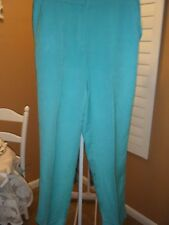 WOMENS RONNI RUBY RD TEAL GREEN LINEN PANTS SIZE 8