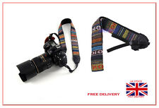 Retro Vintage style stripe camera shoulder neck strap SLR DSLR Nikon Canon Sony
