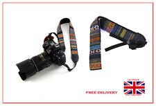 Retro Vintage style stripe camera shoulder neck strap SLR DSLR Nikon Canon Sony