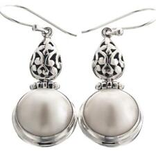 """1 1/4"""" ROUND WHITE MABE PEARL 925 STERLING SILVER earrings"""