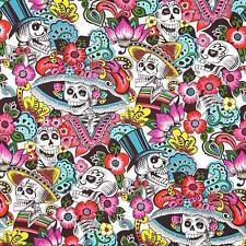 1m Dia de la Catrina Natural, Alexander Henry fabric PER METRE mexico skulls fri