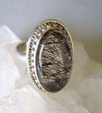 Ring mit Turmalinquarz Quarz, 925er Silber, Gr. 16,2 -Turmalin - Rutil -