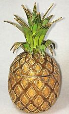 Pineapple Shaped Trinket Candy Decorative Collectible Box Enamel Brass Inlay