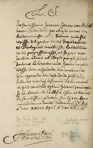 1704 LEIDEN University degree signed by 4 eminent DUTCH theologians inc HEBRAIST