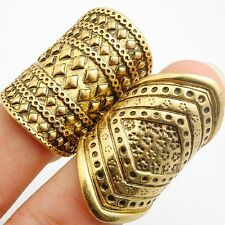 Wholesale Yellow Gold Plated Luxury  India Women's Wedding Rings 2Pcs/Lot Size 6
