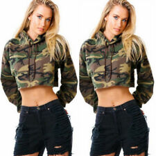 UK Women Crop Tops Pullover Hooded Sweatshirt Long Sleeve Cropped Hoodies 6 - 14 8