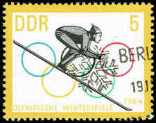 Scott # 680 - 1963 - ' Ski-Jumper & Olympic Rings '