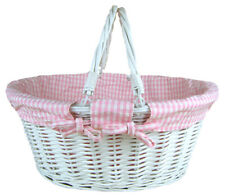 Jaffa Imports Whitewashed Wicker Shopping Basket With Folding Handles and Pink G