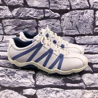 ECCO Men's White Blue Leather Lace Up Soft Spike Gold Shoes Size 44 US 10 - 10.5