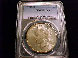 1923-S Peace Dollar, PCGS MS 64 grade.  A white lusterous coin.