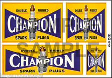 HO SCALE WATERSLIDE BUILDING DIORAMA LAYOUT SIGNS CHAMPION SPARK PLUGS HO60