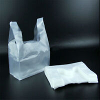 100pcs Carry Out Retail Supermarket Grocery White Plastic Shopping Bags 18X28cm