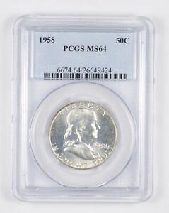 1958 MS64 Franklin Half Dollar - 90% SILVER - PCGS Graded *931