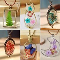 Handmade Natural Real Dried Flower Resin Moon Cat Butterfly Pendant Necklaces