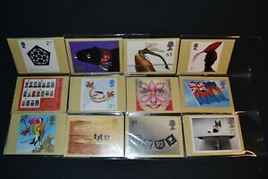 GB PHQ cards 2001 period x 12 different sets all stamps on the back & fdi