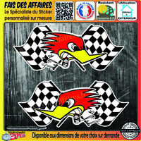 2 Stickers Autocollant horsepower drapeau damier Hotrod Rockabilly Old School