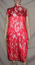 Asian Red & Shiny Gold Floral sleeveless Dress / top with Frog Buttons M / L