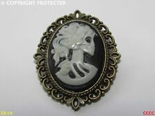 steampunk brooch badge pin gothic pride prejudice skull cameo day of the dead