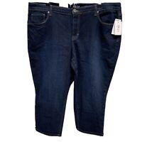 Capri Crop Womens Plus Size 18W Stretch Style&co Casual Blue Denim Cuffed NWT