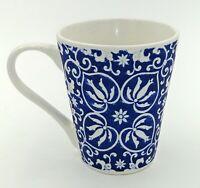 ND Exclusive Porcelain Cup Mug Blue Geometric Flower Hearts Matte Finish