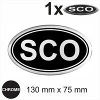 SCO Oval 130x75mm RETRO Chrome on Black Sticker Dome Car Van 3D Gel Resin Decal