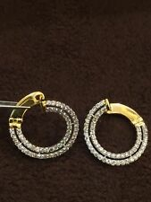 Pave 1.75 Cts Round Brilliant Cut Natural Diamonds Hoop Earring In Fine 14K Gold