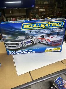 Scalextric American Champions Mustang #3 Camaro #76 1/32 Slot Car Set Extra Cuda