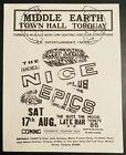 THE NICE KEITH EMERSON MIDDLE EARTH TORQUAY UK 1968 Handbill Flyer RARE MINT!