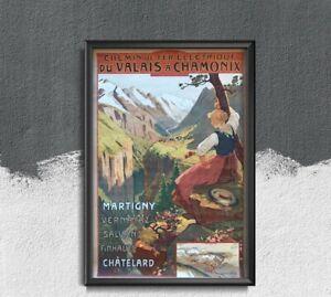 Chamonix French Travel Poster Vintage Poster, Vintage Wall Art, Vintage Travel,