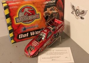 2001 Del Worsham Checkers Jurassic Park III 1/24 Action NHRA Diecast Autographed