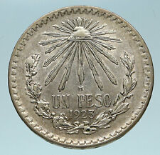 1923 M MEXICO Large Eagle Liberty Cap Mexican Antique Silver 1 Peso Coin i83262