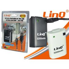 """-linq Batteria Ricaricabile per Controller Xbox 360 da 3200 mAh """"bat-360dc""""black"""