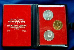 1974 Israel Ben Gurion  Silver & Gold Proof Coin Set .