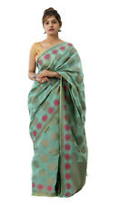 Women Turquoise Color Cotton Silk Wedding Party Saree with Blouse Piece