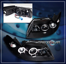 1999-2004 FORD MUSTANG HALO PROJECTOR HEADLIGHTS LAMPS BLACK 2000 2001 2002 2003