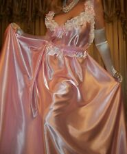 "Vtg Pink Long Full 200"" Sweep Satin Nightgown Babydoll Negligee CD Dress 2X 3X"
