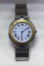 Santos De Cartier Authentic Stainless Steel 18k Gold Unisex Quartz Watch 32.5mm