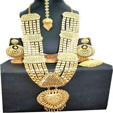 Gold Plated 20'' Long Indian Big Necklace Earrings Tikka Ring Pakistani Wedding