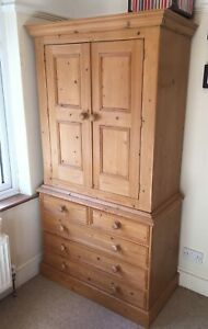 Antique Waxed Country Pine Clothes Linen Bedroom Nursery Armoire Wardrobe
