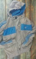 Mens Adidas Original Hoodie Zipper Grey And Blue Size Medium
