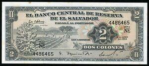 🔸 EL SALVADOR 2 COLONES 1964-1968 P-101 aUNC (N-028)🔸