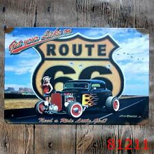 Metal Tin Sign sexy girl old car route 66 Bar Pub Vintage Retro Poster Cafe ART